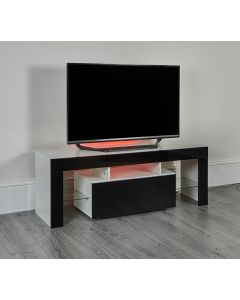 White & Black TV Stand with storage drawer LED cololur changing