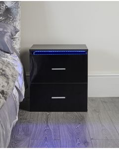 Black gloss LED bedside table nightstand