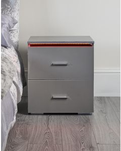 Grey LED bedside table / nightstand