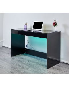 black high gloss desk, console table, vanity table, dressing table