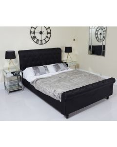 King Black Fabric Chesterfield Sleigh Bed