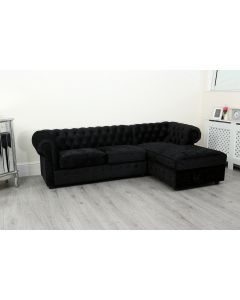 Empire Black Crushed Velvet Chesterfield Right Hand Corner Sofa