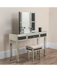 Black Crushed Diamond Dressing Table Set