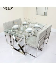 Metal Framed Glass Table with Pu Cushioned Chairs