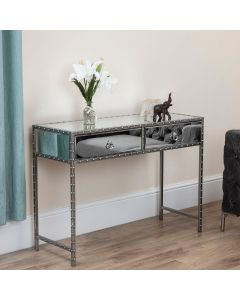 Studded Mirror 2 Drawer Console Table