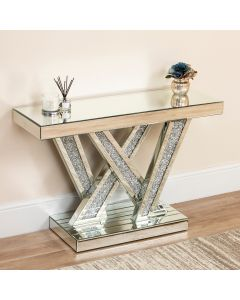 Mirrored Crushed Diamond Abstract X Console Table