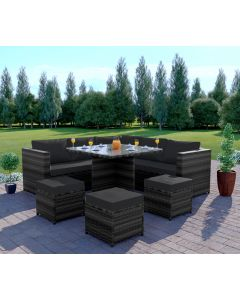 Rattan Garden corner Dining set 7 seats Dark Mixed Grey with Dark Cushions