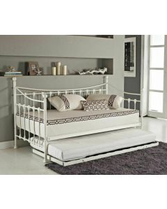Daybed With Trundle Metal White Frame