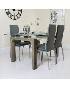 Glass Dining Table with Frosted Glass Shelf and Grey PU Chairs
