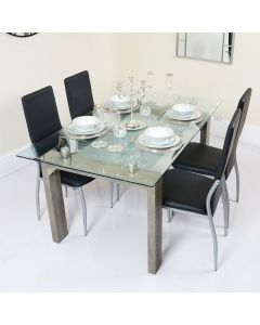 Glass Dining Table with Frosted Glass Shelf and Black PU Chairs