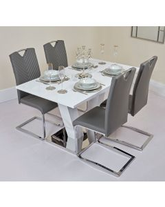 Extendable White and Chrome Dining Table with Grey Detailed PU Chairs