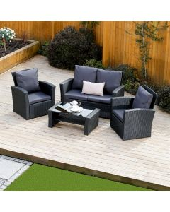 4 Piece Algarve Rattan Sofa Set in Black with Dark Cushions