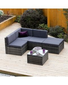 5 Piece Faro Modular Rattan Corner Sofa Set in Dark Mixed Grey with Dark Cushions INCLUDES FREE PROTECTIVE COVER