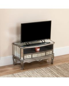Sophia Shabby Chic Mirrored Television Unit Silver
