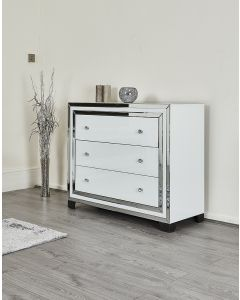 White glass three drawer chest - high gloss - for bedroom or lounge storage