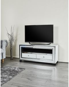 White glass TV stand - high gloss