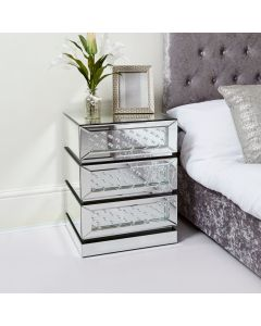 Floating Crystal 3 Drawer Bedside Table