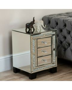 Diamond Crush 4 drawer bedside table nightstand tall boy