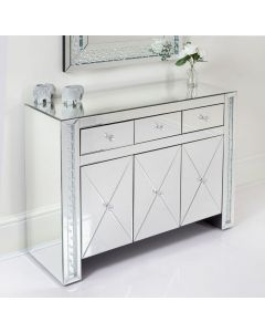Floating Crystal 3 Drawer 3 Door Mirrored Sideboard