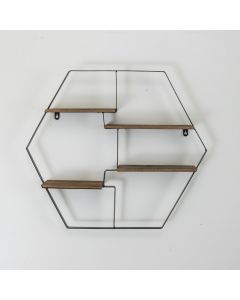 Hexagon Wooden Floating Shelf Unit with Metal Frame