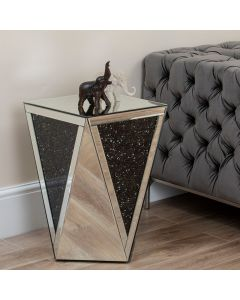 Black Diamond Crush & Mirror Side Table