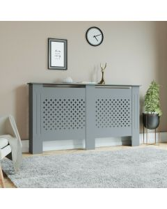 Grey Cross Patterned Large Radiator Cover