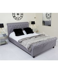 King Grey Fabric Chesterfield Sleigh Bed