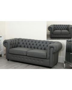 Empire Chesterfield Sofa Suite 3 2 and 1 Seater Grey Faux Leather