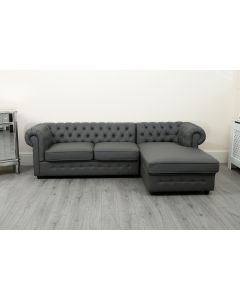 Empire Grey PU Chesterfield Corner Right Hand Sofa