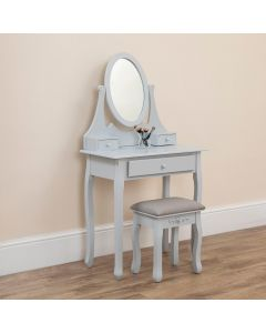 Single Oval Mirror Dressing Table Set Grey