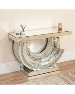 Mirrored Crushed Diamond Half Crescent Console Table