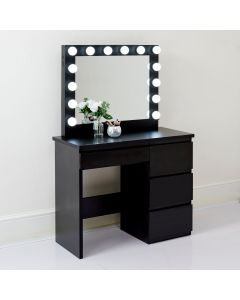 Hepburn Hollywood Mirror and Dressing Table in Black