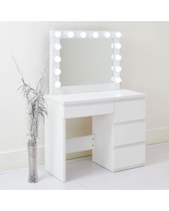 Hepburn Hollywood Mirror and Dressing Table in White