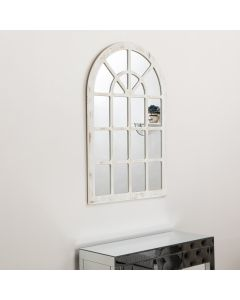 Matte White Church Style Wall Mirror