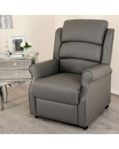 Grey Leather Lift and Rise Recliner Mobility Chair