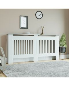 White Vertical Line Large Radiator Cover with Middle Beam
