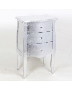 Eliza Silver 3 Drawers Narrow Bedside Cabinet