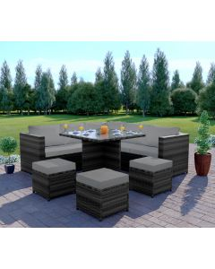 Rattan Garden corner Dining set 7 seats Dark Mixed Grey with Light Cushions