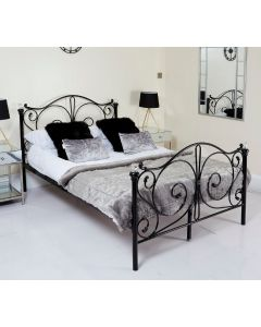 Metal Frame Black Double Crystal Bed
