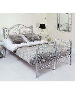Metal Frame Grey Single Crystal Bed