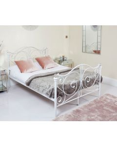 Metal Frame White King Crystal Bed