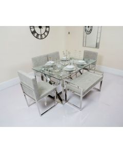 Clara Metal Framed Glass Table with Pu Cushioned Chairs and Bench
