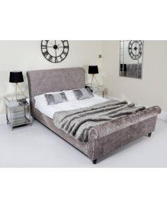 Double Minx Crushed Velvet Sleigh Bed