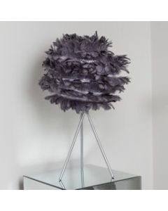 Grey feather table lamp
