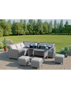 9 Seater Rattan Corner Sofa Set in Light Solid Grey with Light Cushions