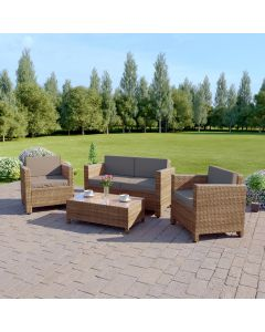 4 Piece Roma Rattan Sofa Set in Light Mixed Brown with Dark Cushions