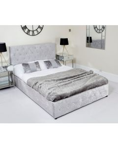 Double Silver Crushed Velvet Chesterfield Style Gas Lift Ottoman Storage Bed