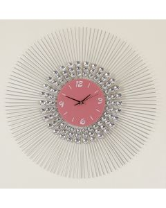 Pink and Silver Glass Faced Clock with Jewels and Silver Spiked Trim