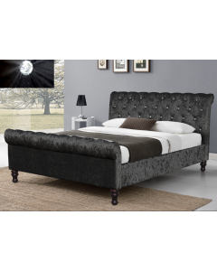 Black Chesterfield Sleigh Bed