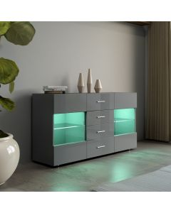 LED Grey High Gloss Sideboard Unit